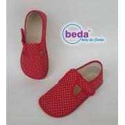 Barefoot přezůvky 60010/W Boty BEDA červený puntík