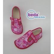Barefoot přezůvky 60010/W Boty BEDA - růžové znaky